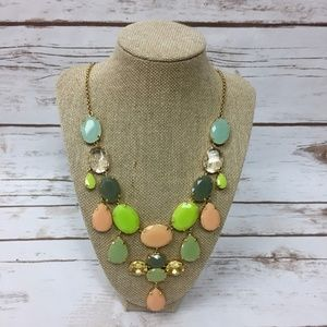 J Crew Pink Green Pastel Oval Statement Necklace